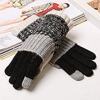 ajunt de primavera y Invierno Lovely Touch Screen fina tejer lana guantes corto Dual Use Color Invierno verdickung. Guantes fríos, negro