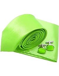 LABEL-CRAVATE Cravate slim et fine vert-anis, pochette-mouchoir et  manchettes 36dc5a91426
