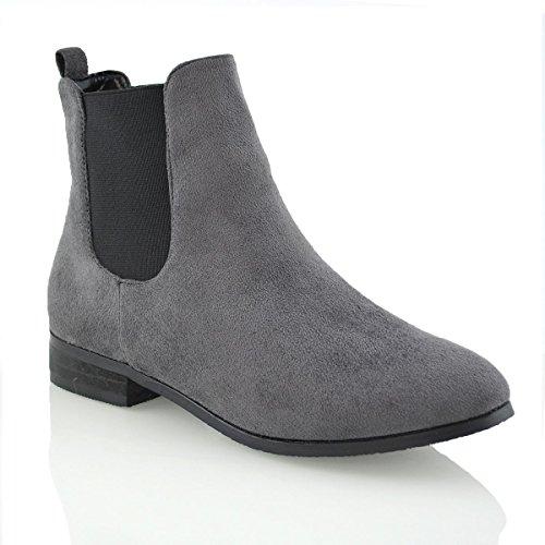 ESSEX GLAM Damen Stiefeletten Chelsea Kurzschaft Stiefel Schuhe Grau Wildlederimitat