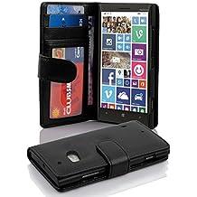 Nokia Lumia 930 / 929 Custodia di Libro di Finta-Pelle in NERO PROFONDO di Cadorabo – con Vani di Carte Funzione Stand e Chiusura Magnetica – Protezione per Fronte e Retro Portafoglio Cover Case Wallet Book Etui Full Body