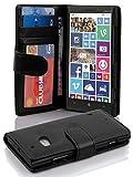 Cadorabo Hülle für Nokia Lumia 929/930 Hülle in Handyhülle mit 3 Kartenfächern Case Cover Schutzhülle Etui Tasche Book Klapp Style Oxid Schwarz