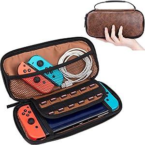CoolBELL Vintage Leder Nintendo Switch Deluxe Case Reise Schutz Hülle elastisch Absorption Elektronisches Zubehör Aufbewahrungstasche mit 12 Einbauten Spiel Kartensteckplätze Tasche & Aufbewahrung