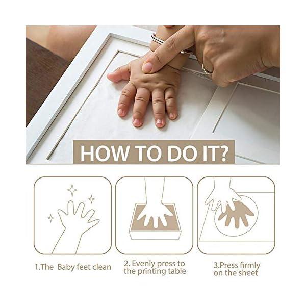 BraceTek – Kit de Marco Para Manos y Huellas de bebé para niño y niña – marcos de arcilla y madera – No se agrieta al secar