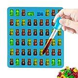 Oxforder DIY Süßigkeit Silikonform 50 Mini Gummibärchen Form, Bonbonsform, Schokoladeform, Eiswürfel Form, Seifen Formen mit Pipetten Tropfenzähler (Blau)