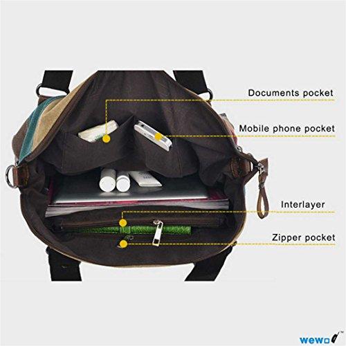 Design wewod strisce Mode Cross Body borsa a mano borsa a tracolla per donne da donna borsa di tela per i giovani, Mosaik-B (rosso) - JX-DJ-1196 Mosaik-A