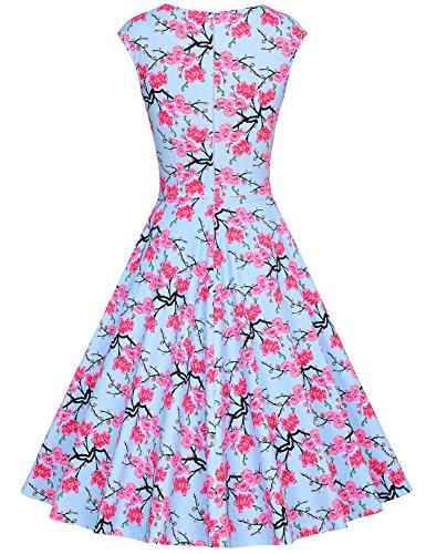 MUXXN Damen Retro 1950er Kleider Swing Kleid Vintage Rockabilly Kleid Partykleid Cocktailkleid Blue Cherry