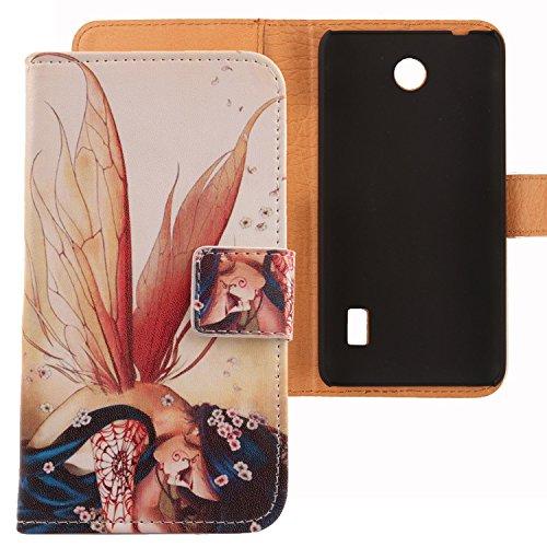 Lankashi PU Flip Leder Tasche Hülle Case Cover Schutz Handy Etui Skin Für Huawei Ascend Y635 Wing Girl Design