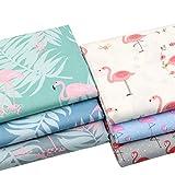 """6 Stück 40 cm x 50 cm (15,7 """"x19,7"""") Flamingo bedruckter Baumwollstoff,patchwork stoffe,baumwollstoff meterware,stoffe patchwork stoffpaket"""