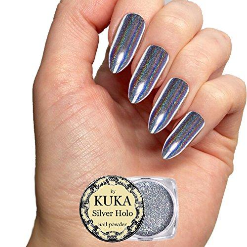 KUKA Poudre à ongles couleurs holographiques, argent or rouge vert bleu rose, paillettes couleur chromées miroir, accessoire aux pigments de différentes couleurs brillantes