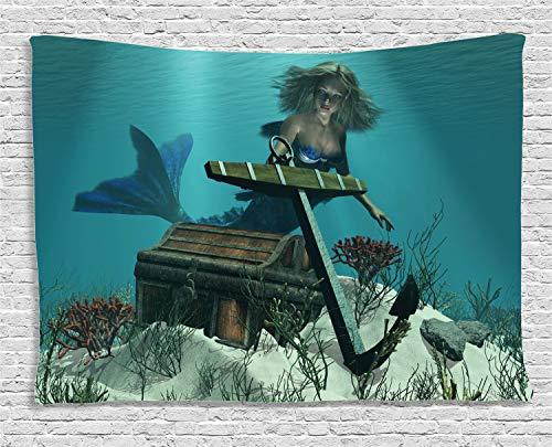 (ABAKUHAUS Meerjungfrau Wandteppich, Ozean mythischer Pirat, Wohnzimmer Schlafzimmer Heim Seidiges Satin Wandteppich, 200 x 150 cm, Braun Creme)