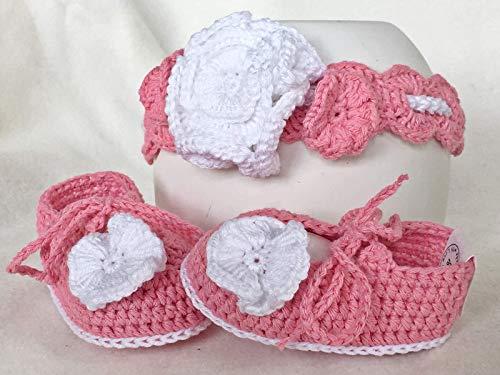 Newborng Baby-Geschenk-Set Girlie - Babyschuhe Ballerinas + Haarband - gehäkelt - Newborn Fotografie