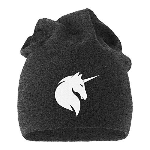 MoonWorks Jersey Beanie Einhorn Unicorn Anker Hipster Kackhaufen Läuft Meow Mütze Stern Herren Damen dunkelgrau Unisize