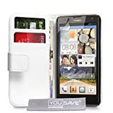 Yousave Accessories Coque Huawei Ascend G740 Etui Blanc PU Cuir Portefeuille Housse