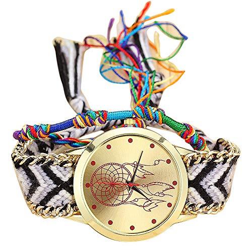 Jia Meng Van Native Handmade Damen Vintage Quarzuhr Dreamcatcher Freundschaftsuhren Dreamcatcher Armbanduhr zu weben -