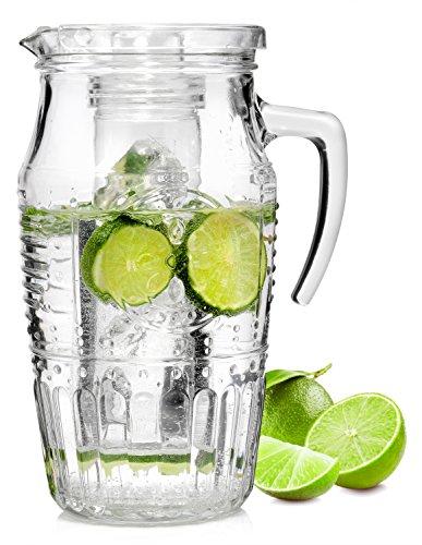 Bormioli Glaskaraffe 'Romatica' mit Eiseinsatz | Füllmenge Karaffe 1,8 Liter | Hält Getränke kühl ohne zu verwässern | Glasprägung im schönen Vintage Design