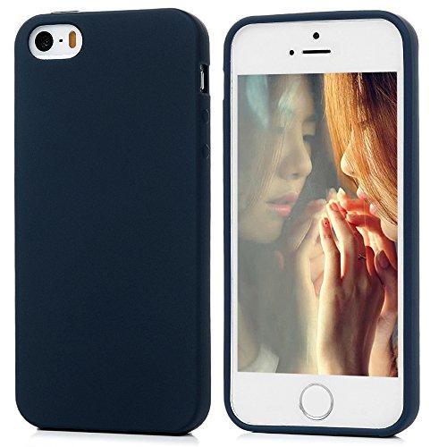 MAXFE.CO TPU Silikon Hülle für iPhone SE / iPhone 5 5S Handyhülle Schale Etui Protective Case Cover Rück mit Königsblau Design Skin Königsblau