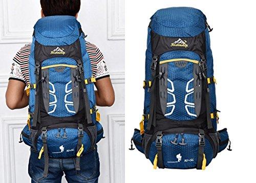 ROBAG Nylon outdoor Bergsteigen Tasche 70L Rucksack Taschen für Männer und Frauen Geschenkpaket blue
