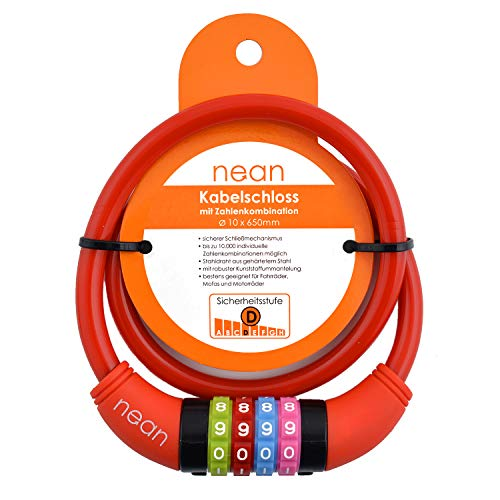 nean Fahrradschloss für Kinder, Zahlen-Code-Kombination-Kabel-Schloss, bunt, 10 x 650 mm (Rot)