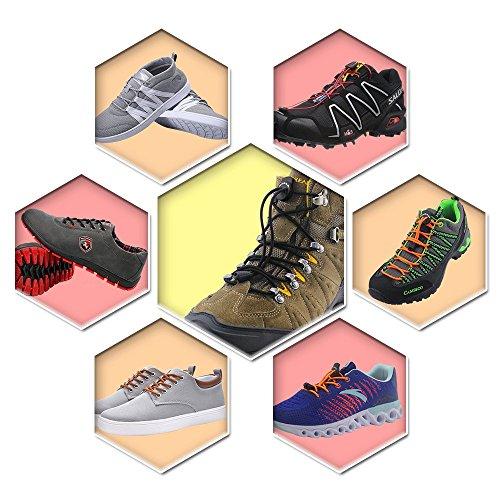 No Tie Schnürsenkel für Kinder und Erwachsene - Solid Colors Kleid Shoestrings Runde Schnürsenkel mit Schlössern Brown