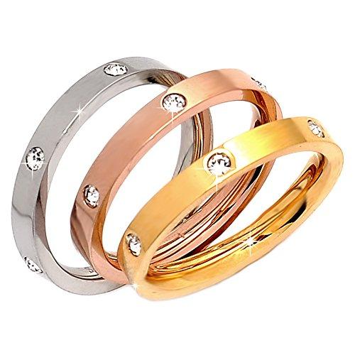 Beloved ❤️ set 3 anelli da donna, fede, fedina in acciaio inossidabile con cristalli colore bianco, giallo, rosa indossabili insieme o separatamente, anello donna