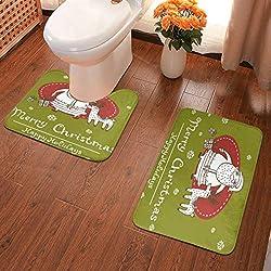 JH Bath Rug Set, Memory Foam,Non-Slip,Extra Soft and Absorbent Bath Mat For Tub+U-Shape Contoured Toilet Mat,Mats for Tub, Shower, Bathroom Rug(2 Pieces:40x60+40x50U)