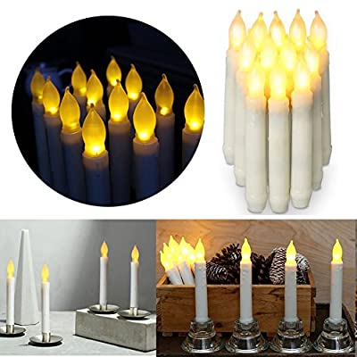 12pcs Flameless LED Candles Lights Battery OperatedVotive LED Taper Candles for Christmas Wedding Birthday Party Halloween Room Decorations,6.5 x 0.9 Inch,Batteries Not Included (Warm) from SHENZHEN HAIXUN LIANFA TECHNOLOGY CO., LTD