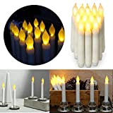 12pcs Flameless LED Candles Lights Battery Operated Votive LED Taper Candles for Christmas Wedding Birthday Party Halloween Room Decorations,6.5 x 0.9 Inch,Batteries Not Included (Warm)