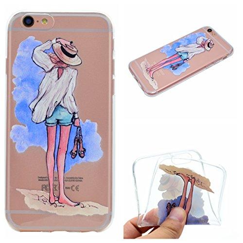 Apple iPhone 6 4.7 Hülle, Voguecase Silikon Schutzhülle / Case / Cover / Hülle / TPU Gel Skin für Apple iPhone 6/6S 4.7(Schwarzes Kleid Mädchen 01) + Gratis Universal Eingabestift Strandmädchen