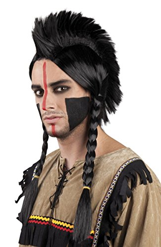 Indian Chief Black Wig Mens Western Fancy Dress Warrior Adults Costume (Man Mega X Kostüme)