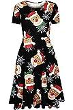 Damen Mutter Tochter Weihnachten Skater gedruckt Pudding Santa Penguins Schneemann Womens Skater Swing Dress (SM EU 36-38, Reindeer Head Rot)