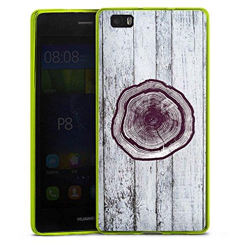 DeinDesign Huawei P8 lite (2015-2016) Slim Case transparent neon grün Silikon Hülle Schutzhülle Stamm Holz Look Baumstamm