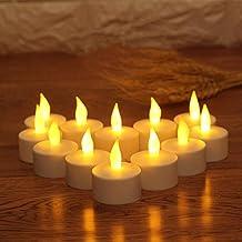 JZK® 12 x Vela LED parpadeo con pila, para jardín, boda, baby shower, comunión, cumpleaños, partido en varias ocasiones, amarillo
