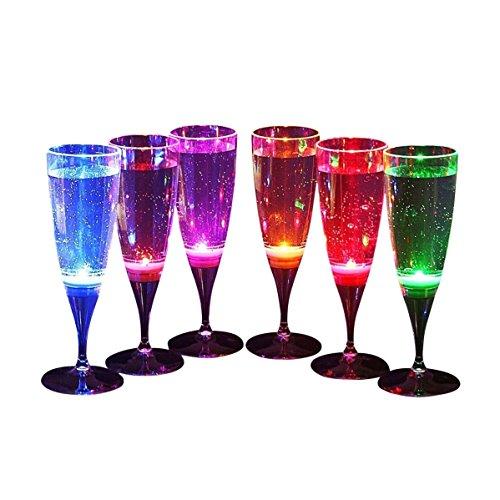 Signstek 6 Stk LED Leuchtende Champagnergläser Wein Gläser