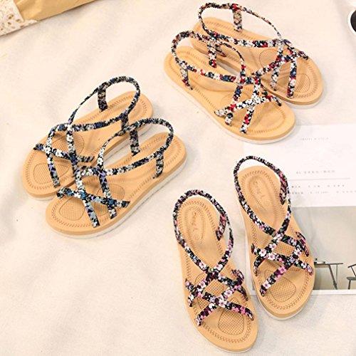 Transer ® Femmes Bohême fleur Bandage sandales plage voyage occasionnel été tongs Bleu
