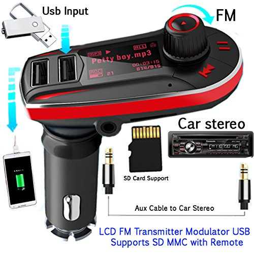 "Evana 1.1"" Car MP3 Player FM Transmitter w/ Dual 2 USB Charger & TF Slot - Black"