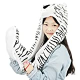 Winter Warm Hat Gloves Scarf Fashion Cute Full Animal Hood Hoodie Hat Cap Soft Fluffy Fleece 3 in 1 Hat with Mitten Pocket Gloves Long Scarf for Women Ladies Girls Tiger White&Black