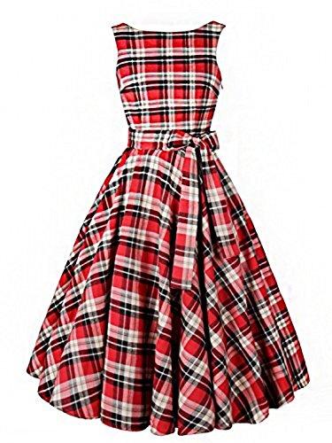 Babyonline 195050s del vintage Plaid Estilo Audrey Hepburn Rockabilly Swing Vestido rojo rosso Medium
