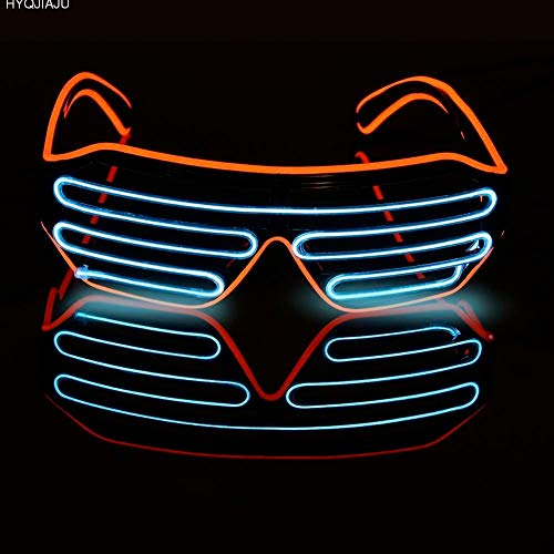 JYYC DJ Bright Brille EL Draht Mode Neon LED Licht Glow Rave Kostüm Party Blinds Gläser Fluoreszierende Tanz Performances - Glow Tanz Kostüm