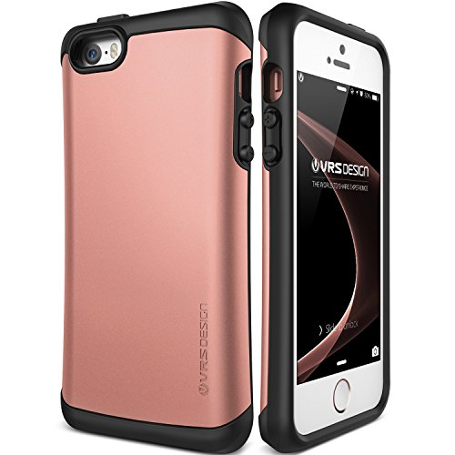 Coque iPhone SE/5S/5, VRS Design [Thor][Noir] - [Anti Chocs Case][Military Grade][Anti Scratch Etui][Housse Protection] For Apple iPhone SE/5S/5 Or Rose