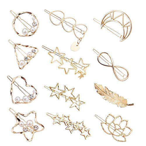 Aokebeey Metall Haarspangen Haarclips, 12 Stück im Hohl-Design Haarnadeln Perle Haarklammern Handgemacht Haarschmuck für Mädchen Damen Haarstyling