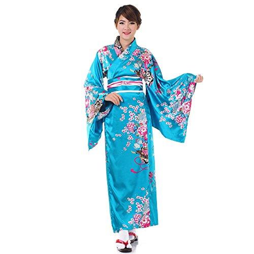 Princess of Asia Japanischer Geisha Kimono Sakura Türkis Satin One ()