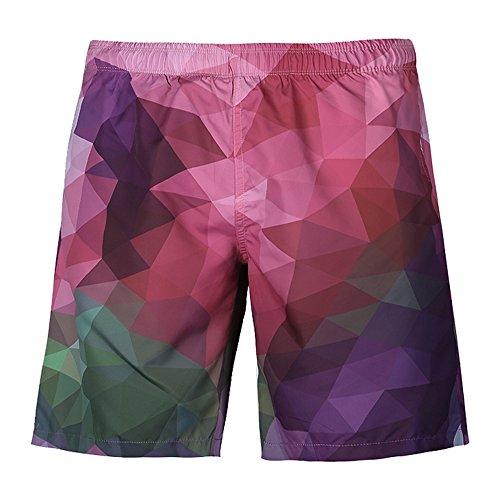 Ocean Plus Herren Sommer Badehose Beach Shorts Hawaii Aufdruck Strandshorts Schnelltrockend Schwimmhose (L, Farbiges Plaid) -