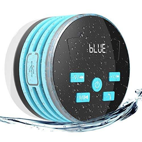 EXTSUD Altoparlante Bluetooth Impermeabile da Doccia Speaker Stereo con FM Radio Vivavoce Microfono Incorporato Ventosa Forte Wireless IPX7 Altoparlante per Smartphone iPhone Android e Tablet PC (Blu)