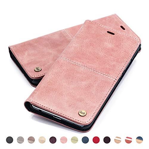 QIOTTI Hülle Kompatibel mit iPhone 6s Plus I iPhone 6 Plus Ledertasche aus Hochwertigem Leder RFID NFC Schutz mit Kartenfach Standfunktion in Rosa - Iphone Telefonieren Plus 6