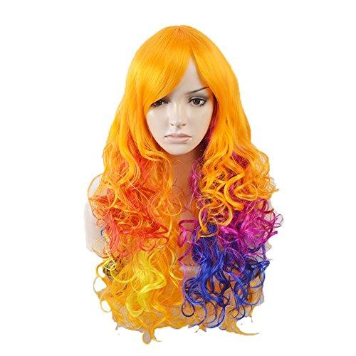 Perücke Schwarz Stilvoll Gelockt Lang Haar Wigs Für Karneval Cosplay Halloween Farbe