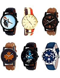 NIKOLA Latest 3D Design Mahadev Black Blue And Brown Color 6 Watch Combo (B22-B50-B18-B34-B23-B56) For Boys And...