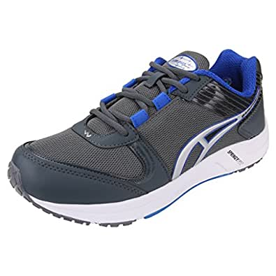 Campus Action Men's Dark Grey Royal Blue Synthetic and Nylon Mesh Sports Shoes 9UK