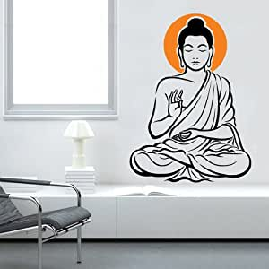 ... Asmi Collections PVC Wall Stickers Meditating God Buddha