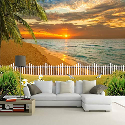 MuralXW 3D Fototapete Für Schlafzimmer Wände Schöne Sonnenuntergang Meer Strand Landschaft Wandbild Innendekoration Wandmalerei Papier-450x300cm