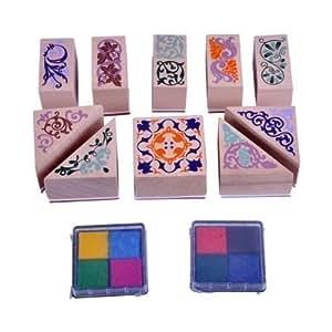 Let's Colour - Ensemble 10 Tampons 2 Encreurs pour Motif en Filigrane Carterie Multicolore